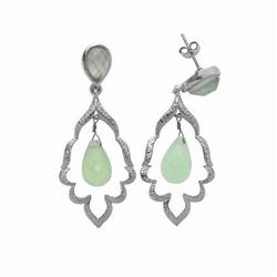 Sterling Silver Aqua Chalcedony Drop Earrings