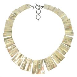 """Sterling Silver 19"""" White MOP Toggle Bib Necklace"""