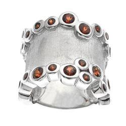 Silver Mozambique Garnet Satin Finish Ring-SZ 7