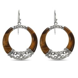 Sterling Silver Tiger's Eye Dangle Circle Earrings