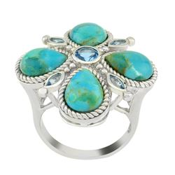 Sterling Silver Tuquoise & Topaz Clover Ring-SZ 6