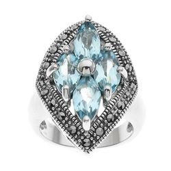 Silver Blue Topaz & Marcasite Shield Ring-SZ 5