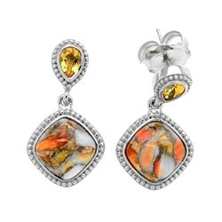 Silver Spiny Oyster & Citrine Beaded Drop Earring