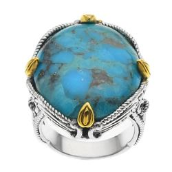 Sterling Silver/14k Gold Plate Turquoise Ring-SZ 6
