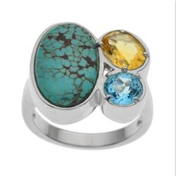 Silver #Mine 8 Turquoise & Gemstones Ring-SZ 9