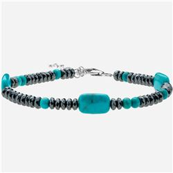 Silver Turquoise and Hematite Bracelet 7.5""