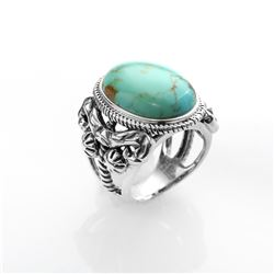 Silver #Mine 8 Turquoise Textured Ring-SZ 7