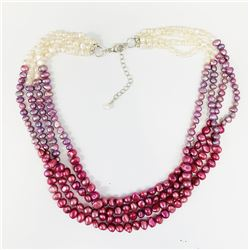 Silver Multi Color Freshwater Pearls Necklace 18""