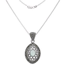 Silver Marcasite and Blue Chalcedony Pendant