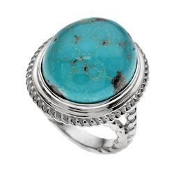 Silver Oval Turquoise Rope Textured Ring-SZ 7