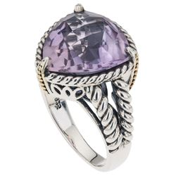 Silver Pink Amethyst Rope Detail Ring-SZ 9