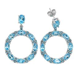 Sterling Silver 11.39ct Blue Topaz Hoop Earring