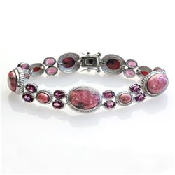"Sterling Silver Rhodonite & Garnet Bracelet 6.7"""