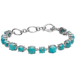 """Silver Round Turquoise Toggle Line Bracelet 7.7"""""""