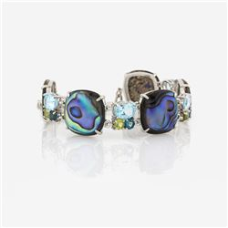 Silver Abalone & Multi Gemstone Toggle Bracelet