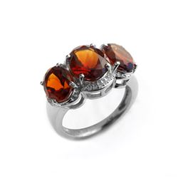 Silver 5.38ctw Honey Citrine 3-Stone Ring-SZ 6