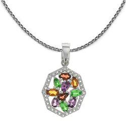 Sterling Silver Exotic Multi-Garnet Pendant