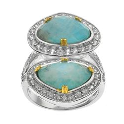 Silver Turquoise & Moonstone Doublet Ring-SZ 8
