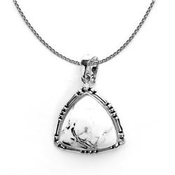Sterling Silver Trillion Cut White buffalo Pendant