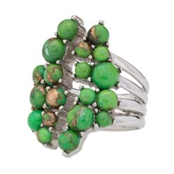 Silver Green Mohave Turquoise Cluster Ring-SZ 8