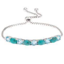 Silver Turquoise & Blue Topaz Slider Bracelet