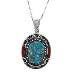Sterling Silver Mohave Turquoise & Jasper Pendant
