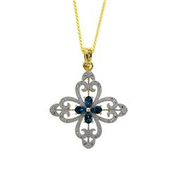 14K Gold Vermeil London Blue Topaz Cross Pendant