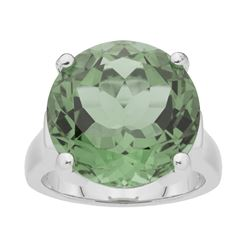 Silver 11.70ct Green Amethyst Solitaire Ring-SZ 8
