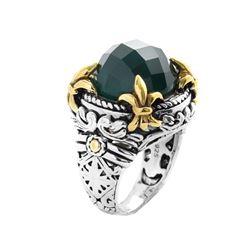 Sterling Silve Green Agate Fluer-de-Lis Ring-SZ 7