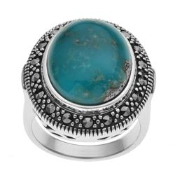 Silver Campo Frio Turuoise & Marcasite Ring-SZ 9