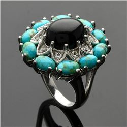 Silver Turquoise & Black Onyx Flower Ring-SZ 6