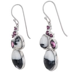 Silver White Buffalo & Garnet Drop Earrings