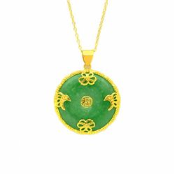 18K Gold over Silver Green Jade Disc Pendant