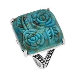 Sterling Silver Turquoise Rose Carved Ring-SZ 8