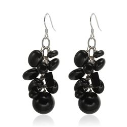 Sterling Silver Black Agate Cluster Drop Earrings