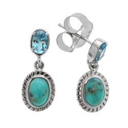 Silver Campo Turquoise & Blue Topaz Drop Earrings