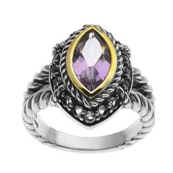 Silver Marquise Pink Amethyst & Topaz Ring-SZ 9