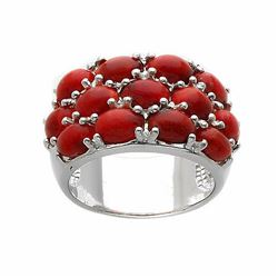 Sterling Silver Coral Wide Band Ring-SZ 8