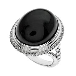 Silver Velvet Obsidian Rope Textured Ring-SZ 7