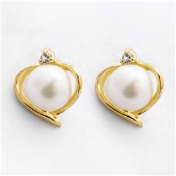 18K Gold over Silver Pearl Heart Stud Earrings
