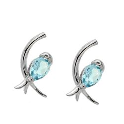 Sterling Silver Sky Blue Topaz Bird Stud Earrings