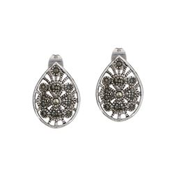 Genuine Marcasite Pavé Stud Earrings