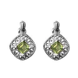 Silver Tone Peridot Stud Earrings
