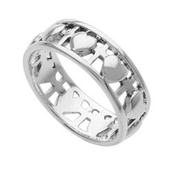 Sterling Silver Heart & Cross Band Ring-SZ 6