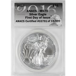 2016 $1 American Silver Eagle Coin ANACS MS70 First Day of Issue
