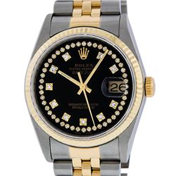 Rolex Mens Two Tone 14K Black VS Diamond 36MM Datejust Wristwatch