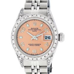 Rolex Ladies Stainless Steel Quickset Salmon Diamond Lugs Datejust Wristwatch