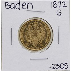 1872-G German States Baden 20 Mark Gold Coin