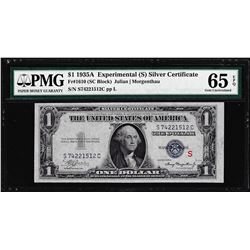 "1935A $1 Silver Certificate Experimental ""S"" Note Fr.1610 PMG Gem Uncirculated 65EPQ"