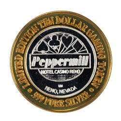 .999 Silver Peppermill Hotel Casino Reno $10 Casino Gaming Token Limited Edition